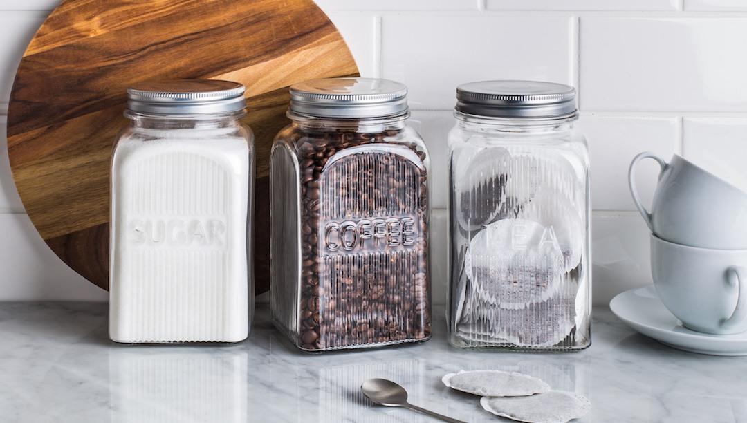 84781-025 2 coffee tea sugar canister set
