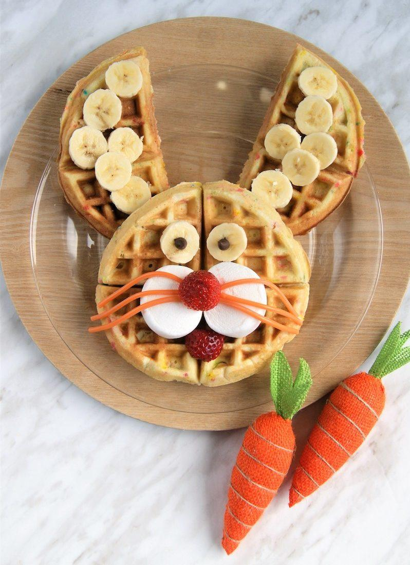 hungry homemaker easter waffle breakfast bar - bunny waffle