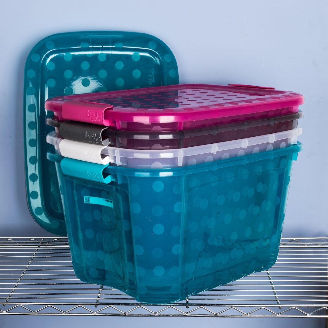 Bella Storage Solutions 38L Polkadots Tote Bin with Lid for easy packing