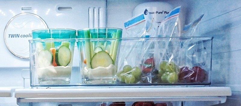 summer snacks fridge bins
