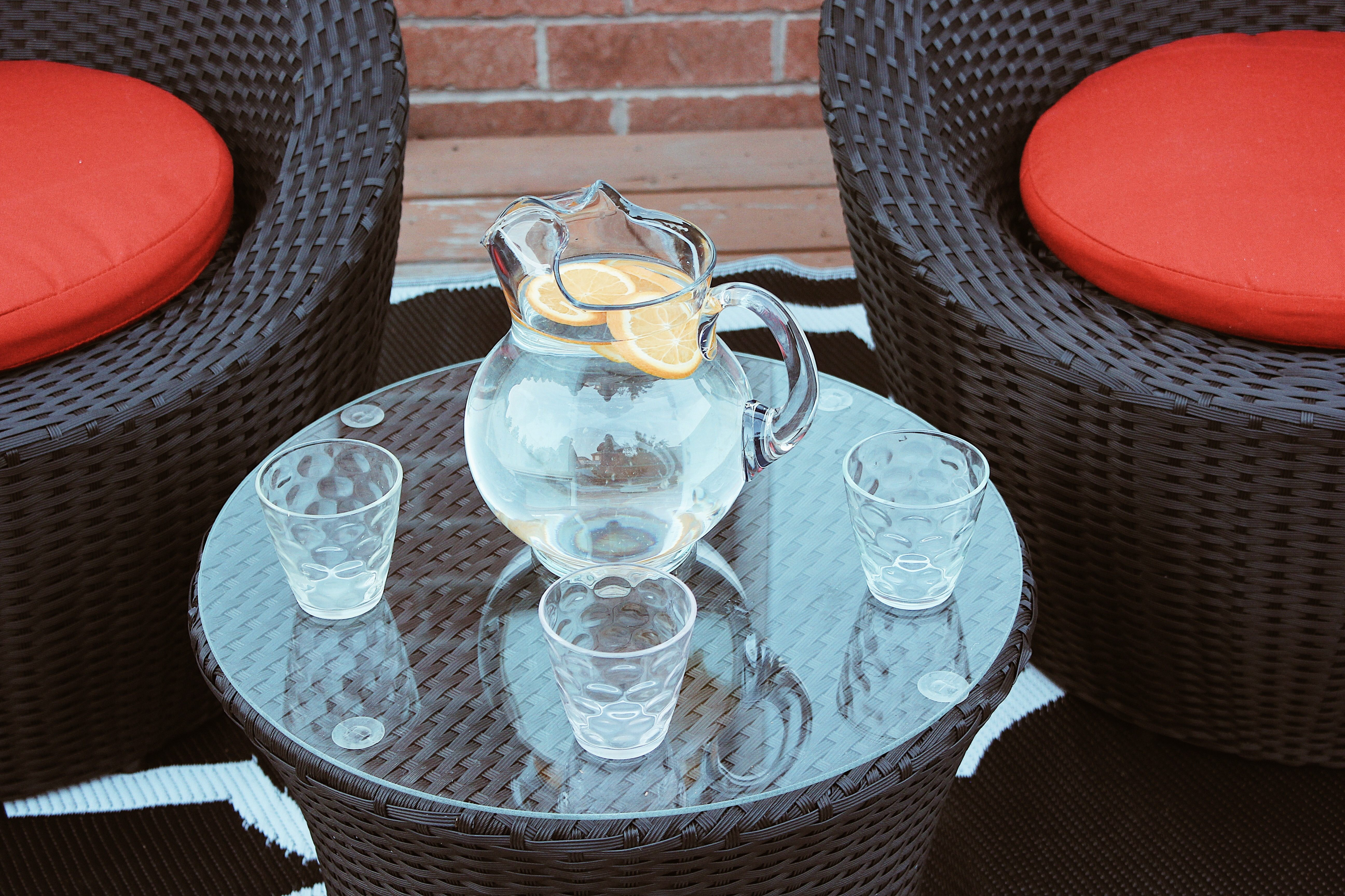 patio water station welcoming tablescape