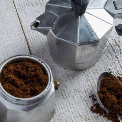 Preparing the coffee in a moka - italian coffee maker