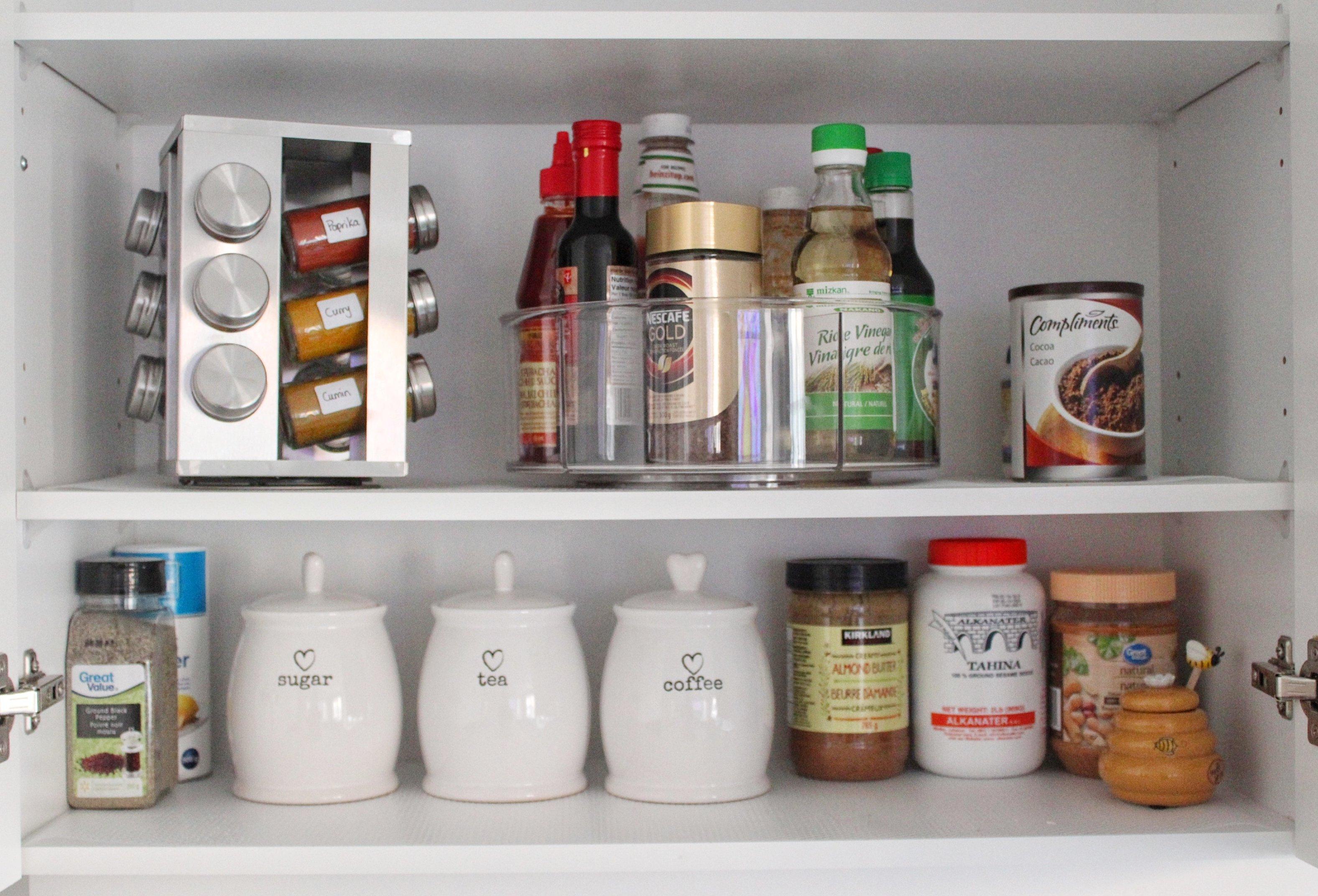 organized cupboard in kitchen