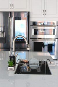 kitchen countertop and sink dish rack