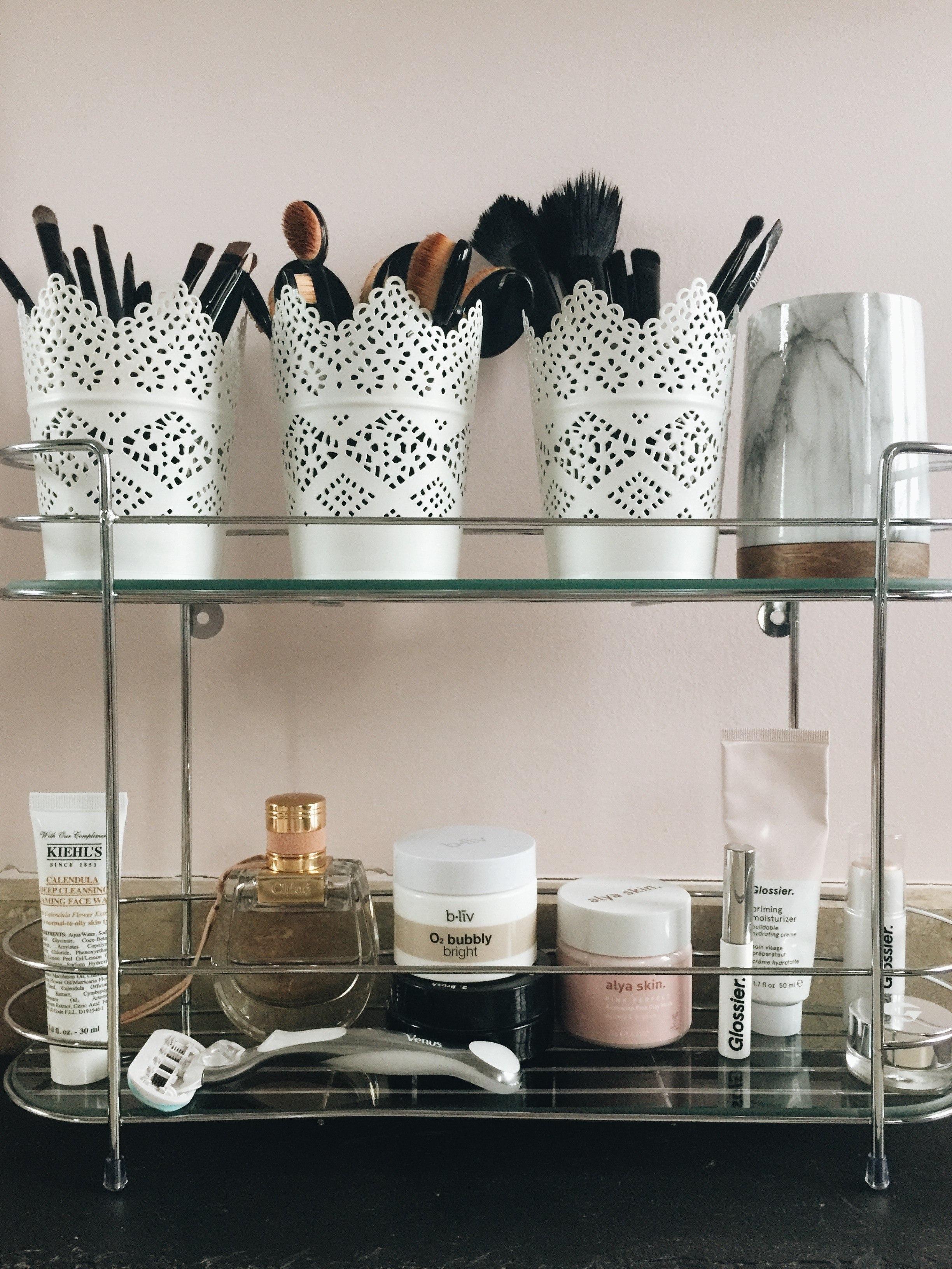 tiered shelf for dorm bath essentials