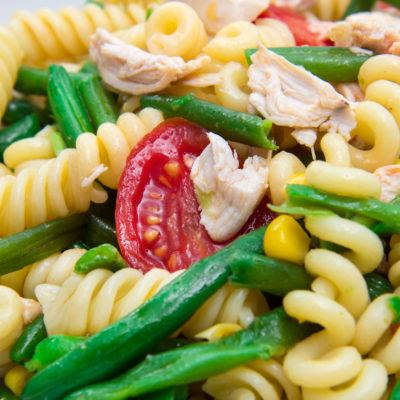 pasta salad with green beans and corn