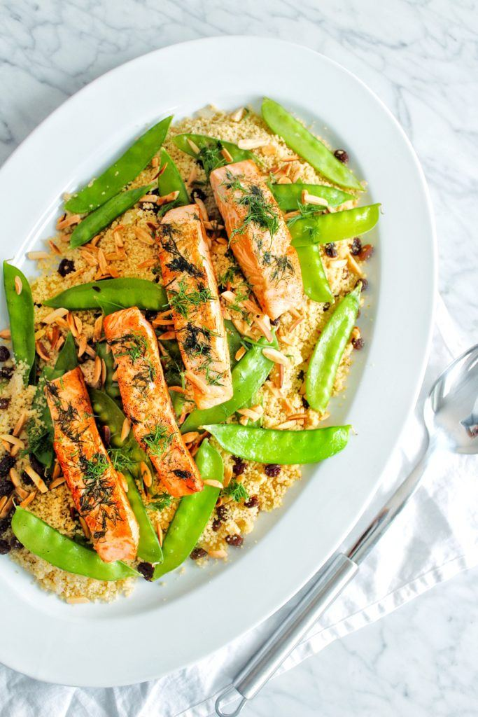Mediterranean-style couscous and salmon