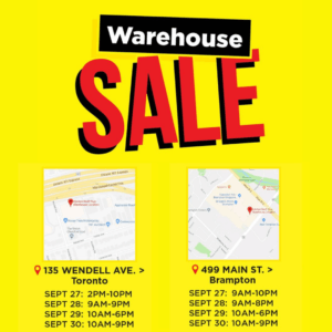 September Warehouse Sale maps and hours