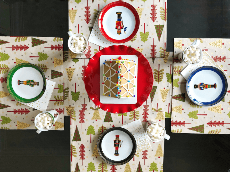 festive tree table runner placements nutcracker plates