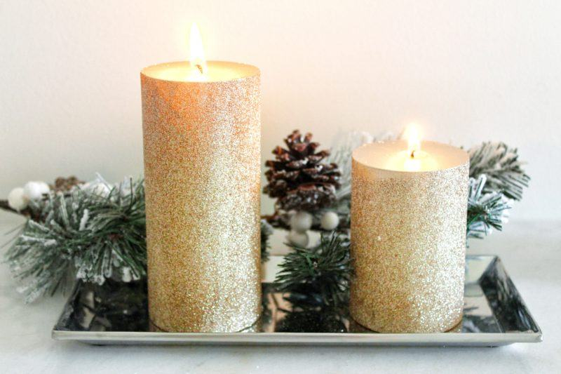Home decor 1 glitter candles cozy