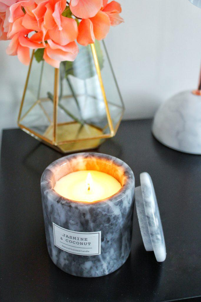 marble candle home decor cozy