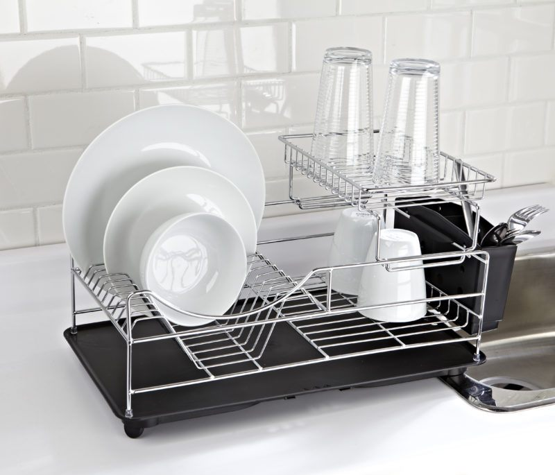 Scoop 2-Tier Dish Rack - Black