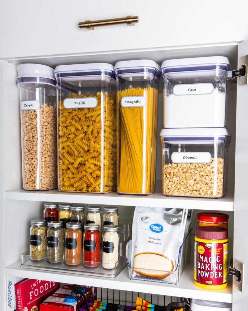 pantry organized with kitchen canisters on sale