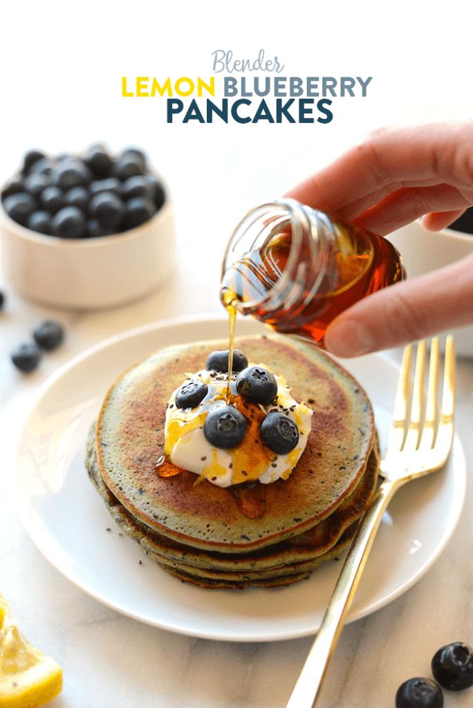 Blender Lemon Blueberry Pancakes