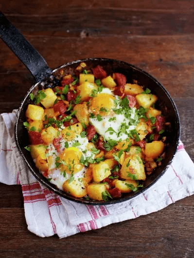 Potato & Chorizo Breakfast Hash by jamieoliver.com