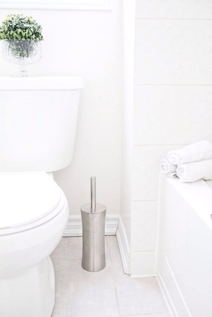 brushed stainless steel toilet brush next to toilet