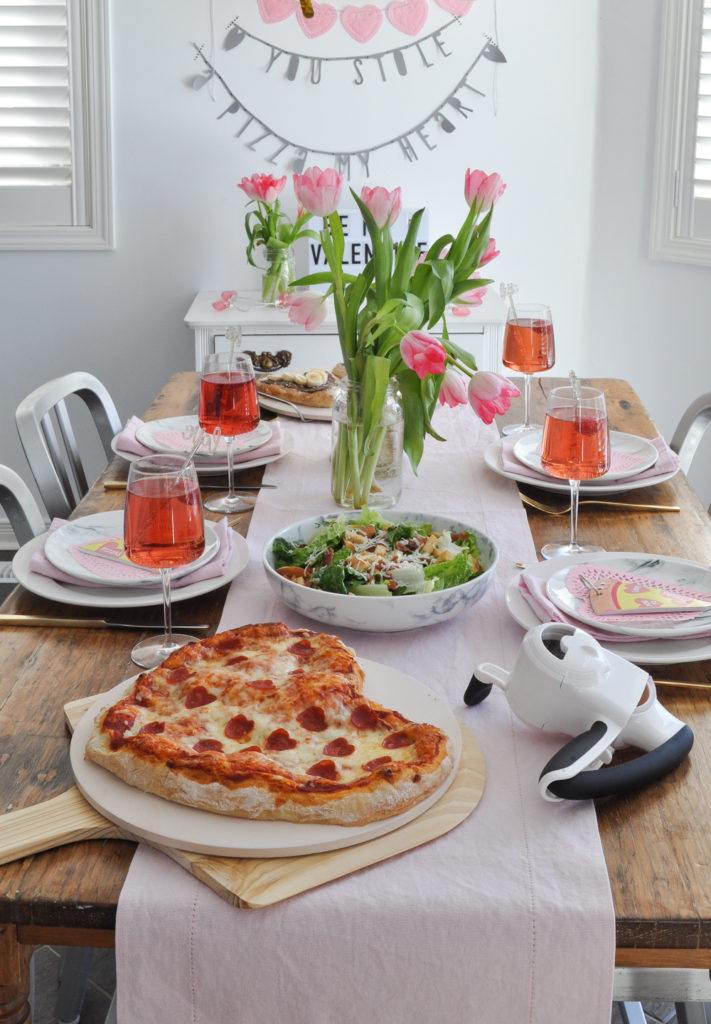 Valentine's Day Pizza Party Tablescape