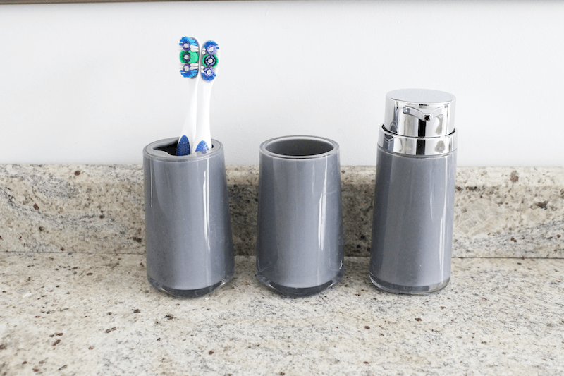 3 piece soap pump, toothbrush holder and tumbler set