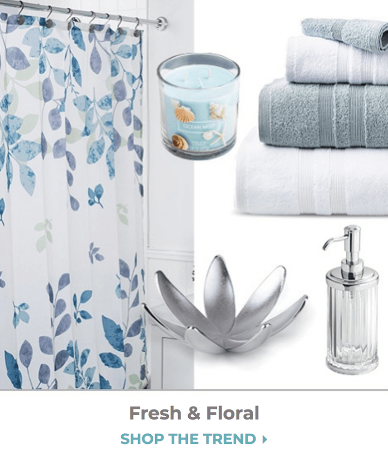 collage of bathroom items for fresh and floral trend