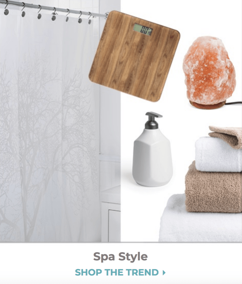 collage of items for spa style trend