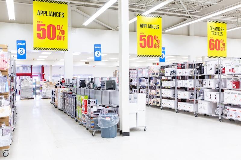 warehouse sale aisles in brampton