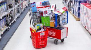 full shopping carts at warehouse sale
