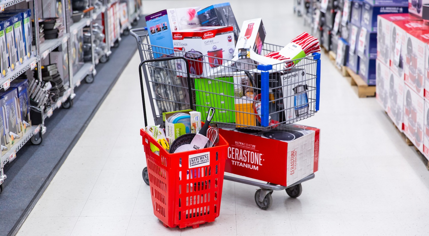 full shopping carts at warehouse sale
