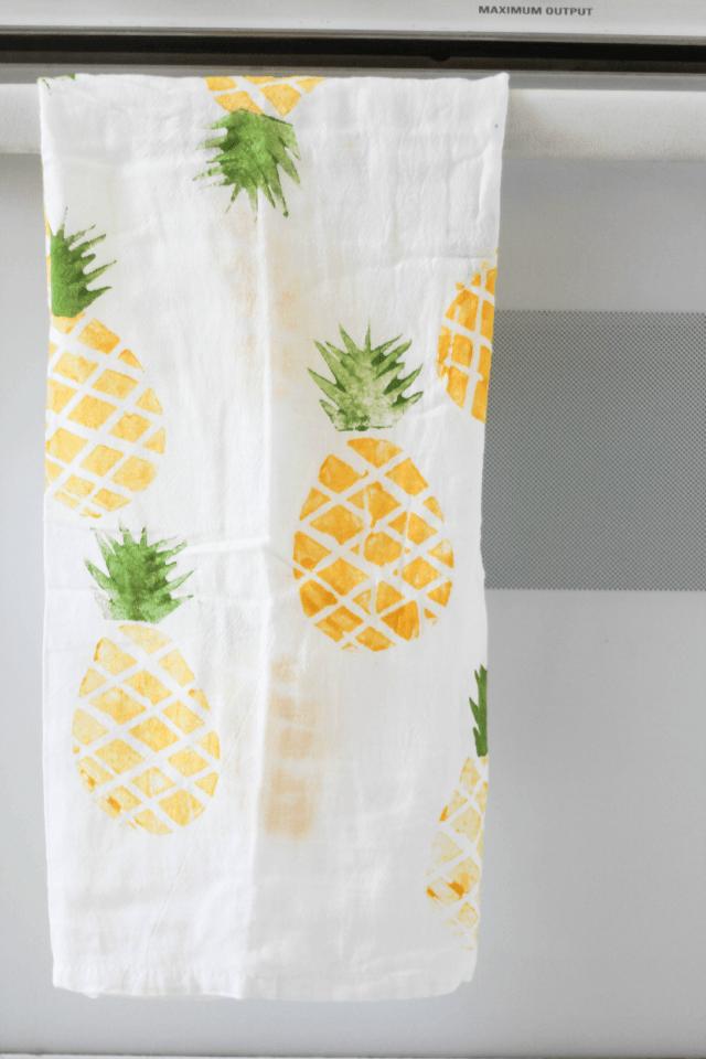white napkin with pineapple print