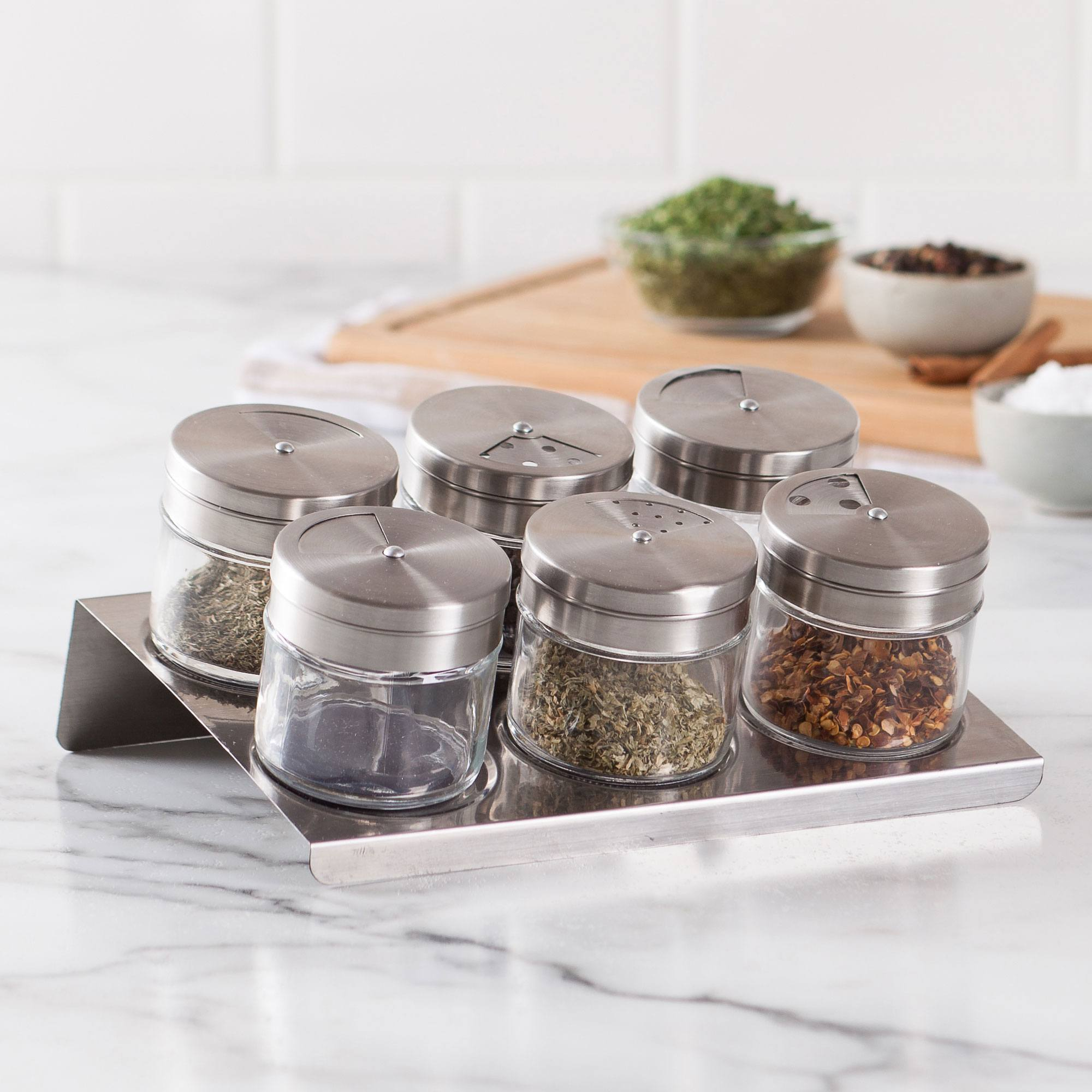 6 stainless steel top spice racks attached to magnetic stainless steel sheet