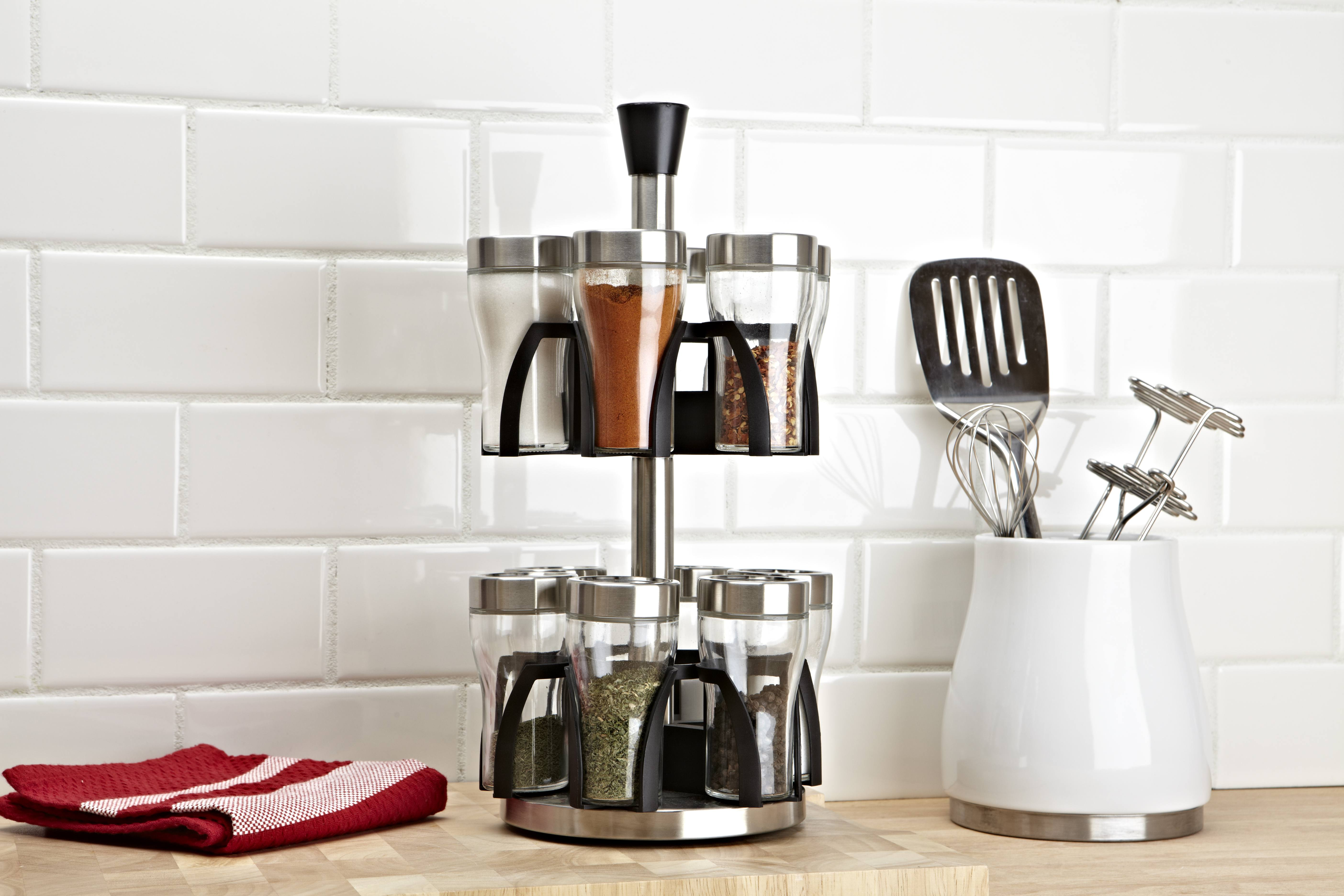 stainless steel and black spice rack with 2-tiers
