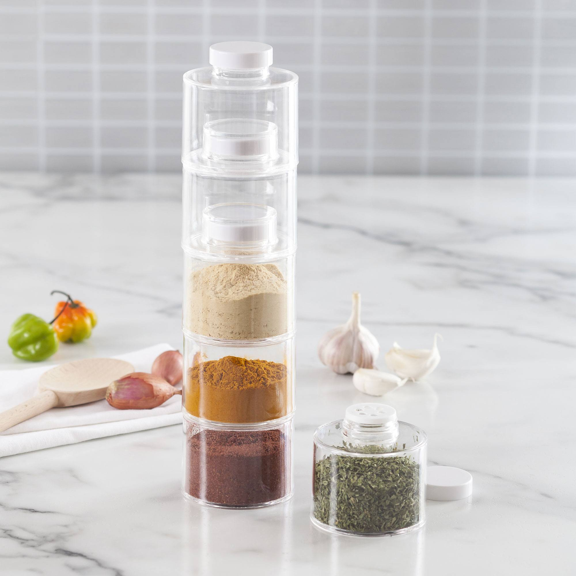 6 acrylic stackable spice jars with white lids