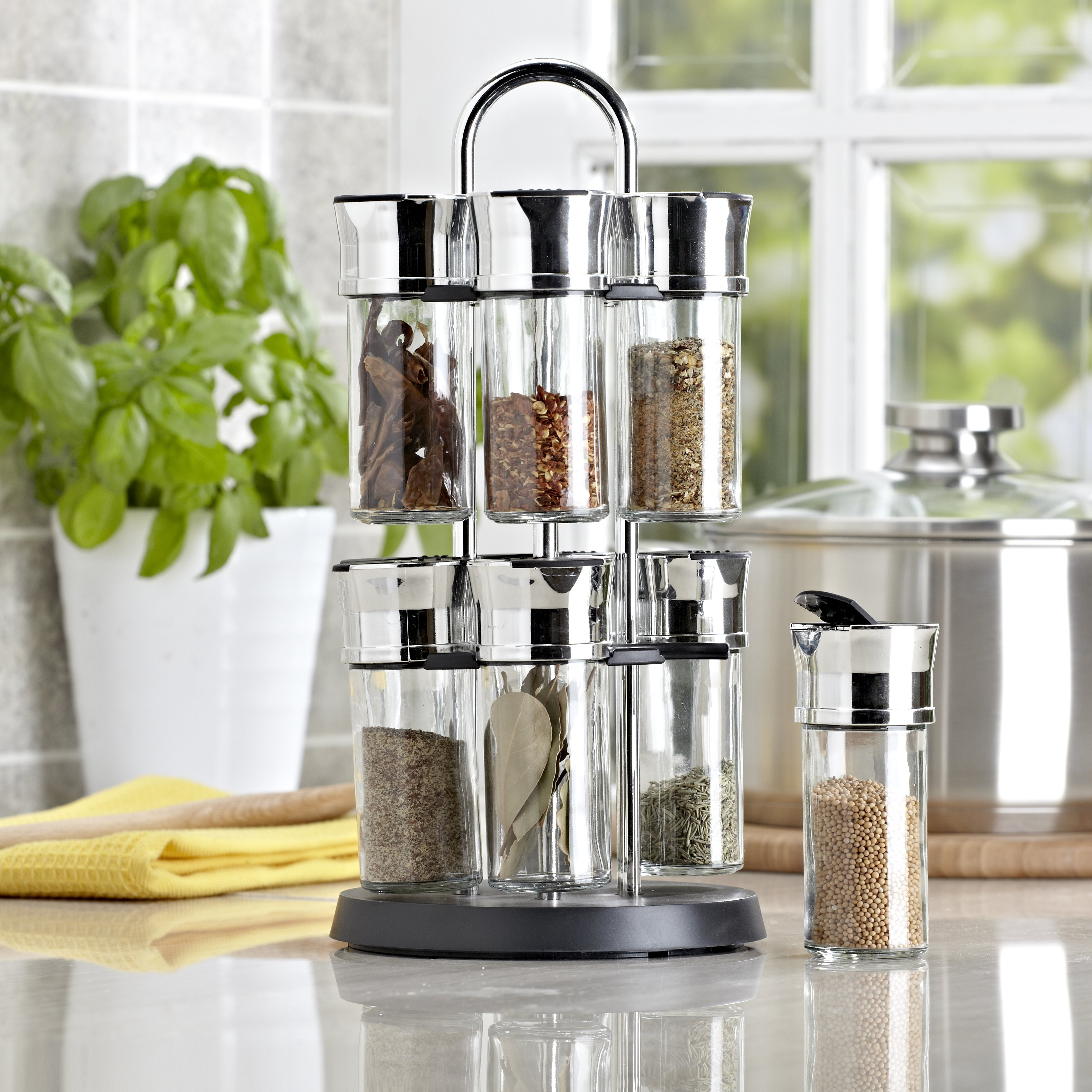 stainless steel spice rack with 2-tiers