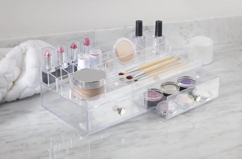 clear cosmetic organizer with makeup