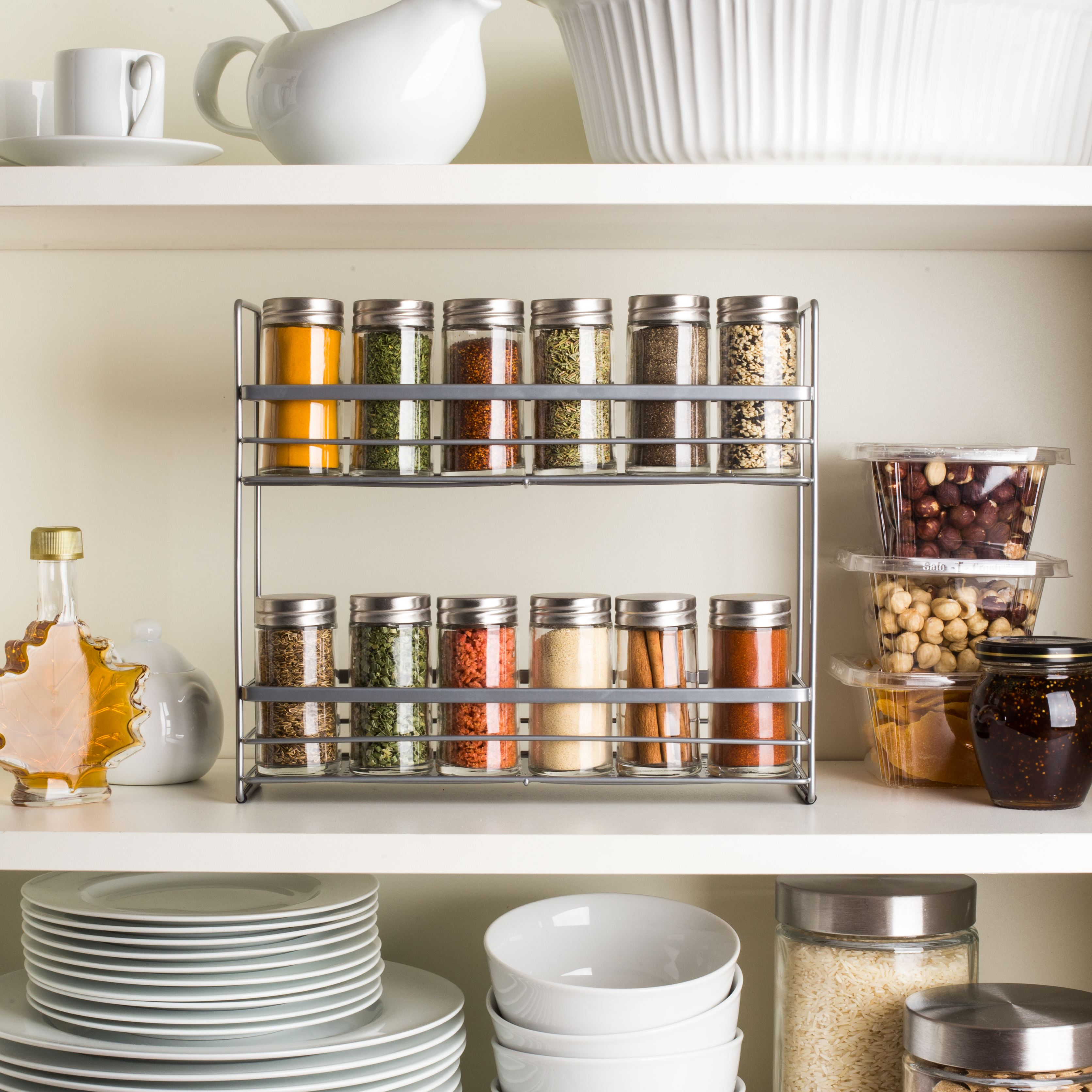 2-tier thin wire spice shelf for inside your cabinet
