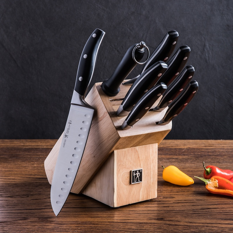 9 piece stainless steel knife block set