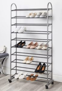 Tall 10 shelf metal shoe rack with wheels.