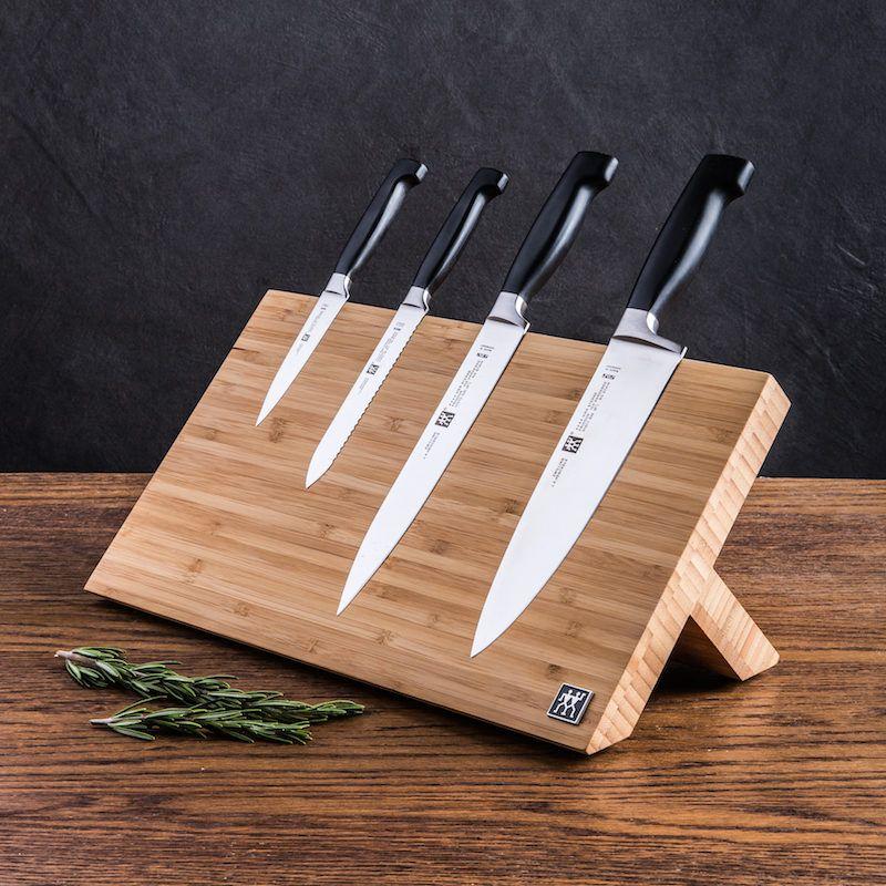 5 piece knife block set on magnetic knife block