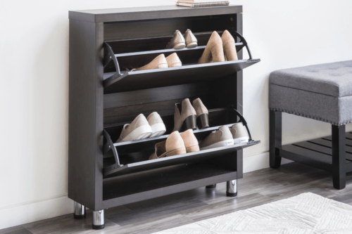 Espresso brown shoe cabinet with two drawers and 4 chrome legs.