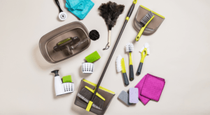 spring kitchen cleaning header with