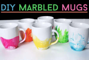 marble painted mugs