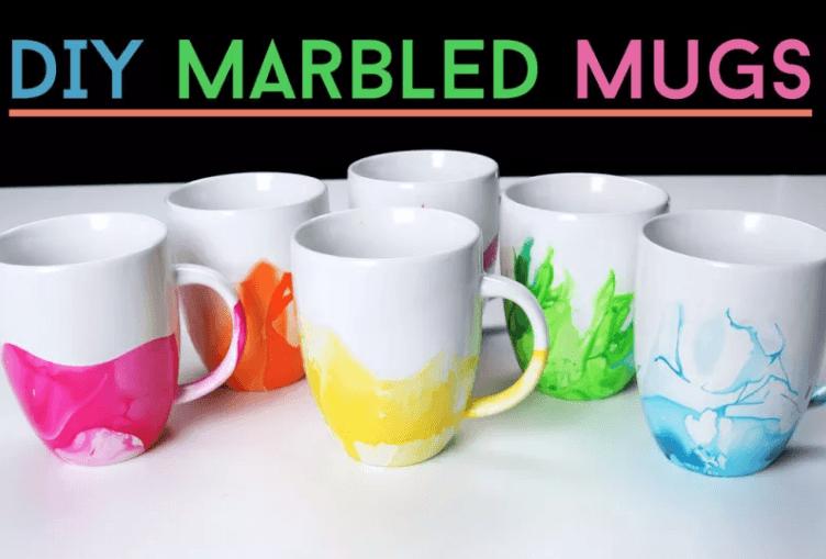 marble painted mugs