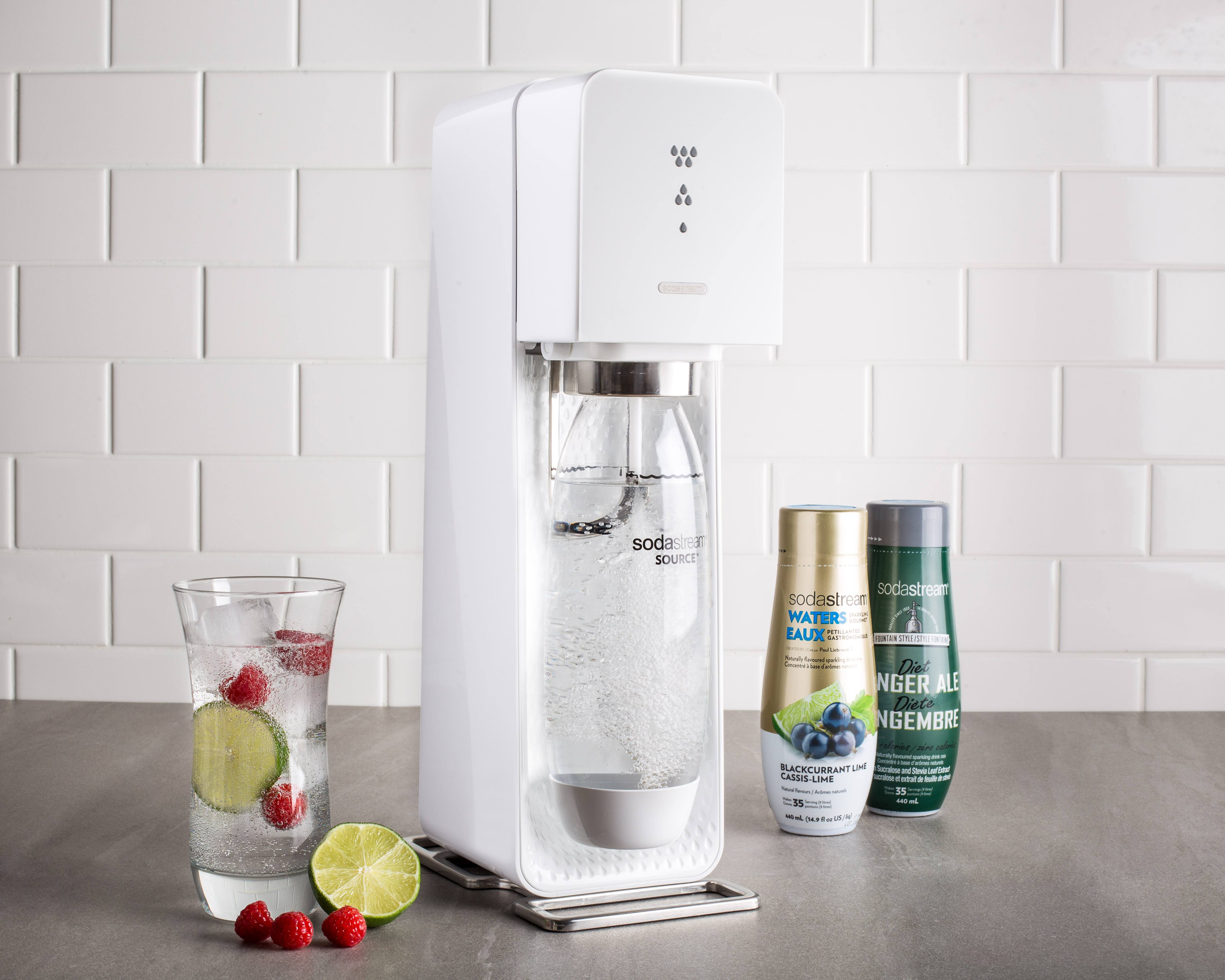 white sodastream with syrups