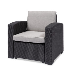 brown/grey single seater chair with cushion