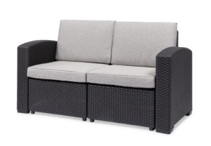 2 seat brown/grey couch with cushions