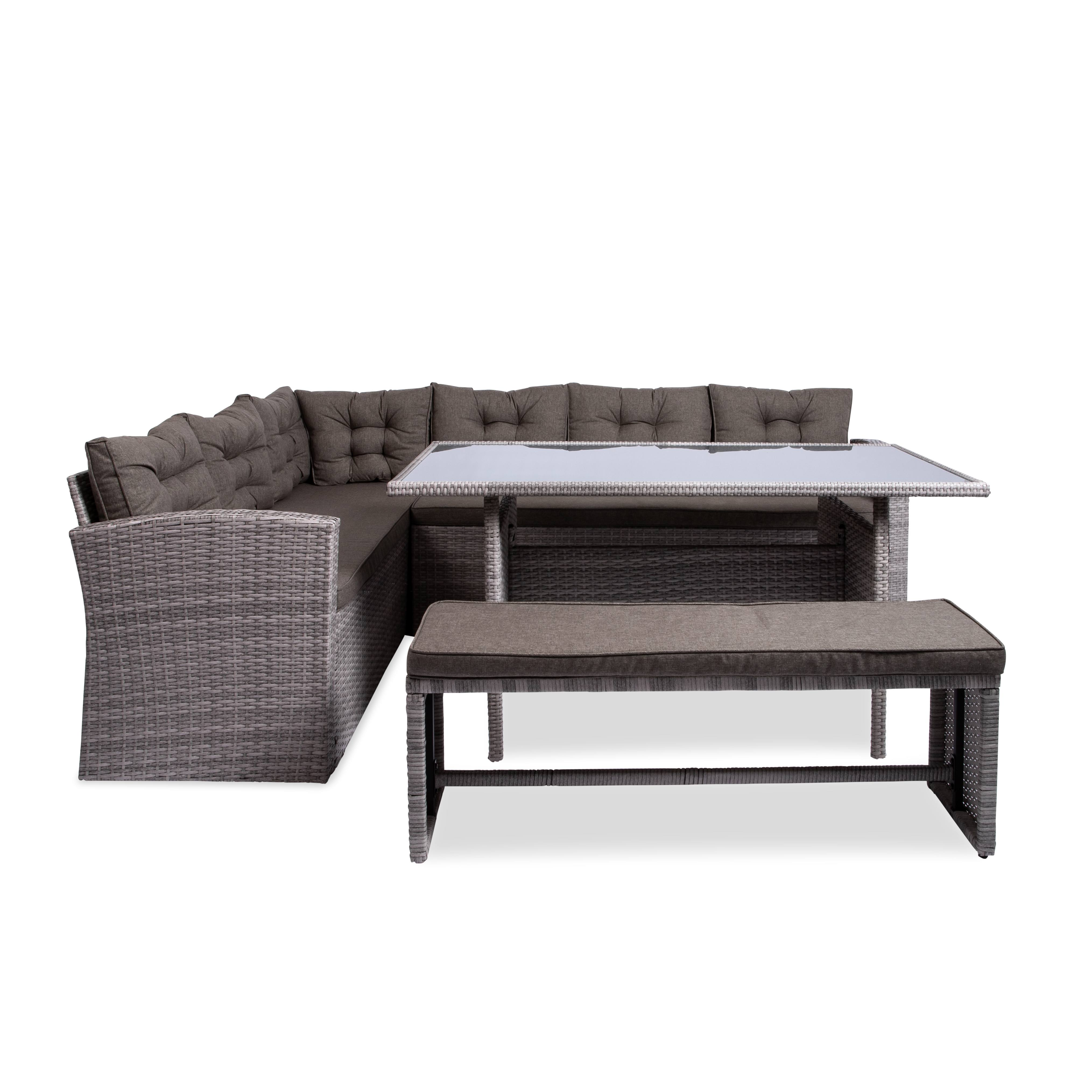full shot of the caban outdoor couch dining table set