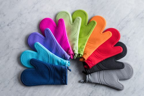 different colour luxe oven mitts spread out
