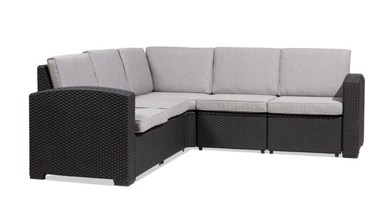 5 seat dark grey couch with cushions