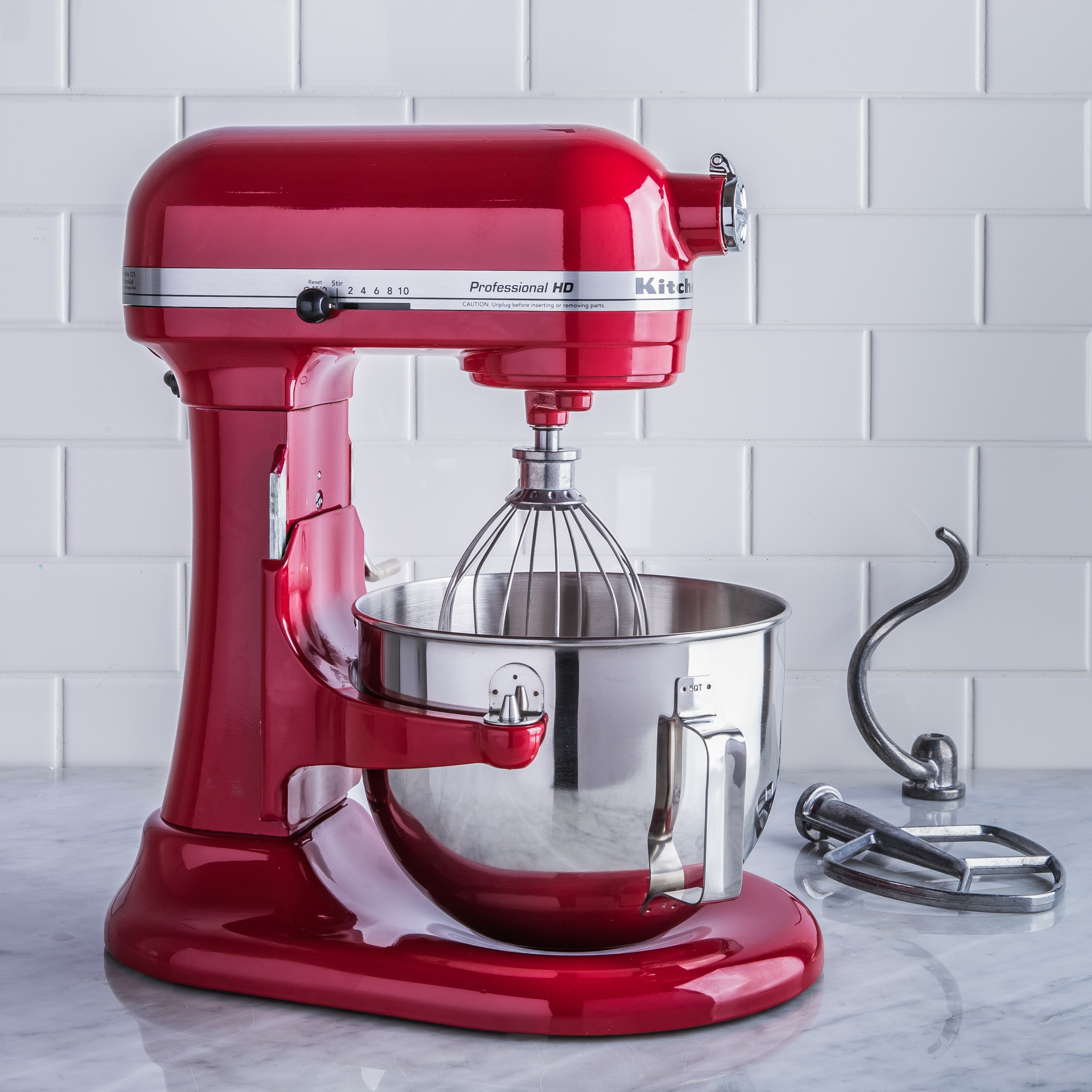 red kitchenaid standup mixer