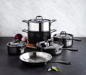 brushed stainless steel cookware set