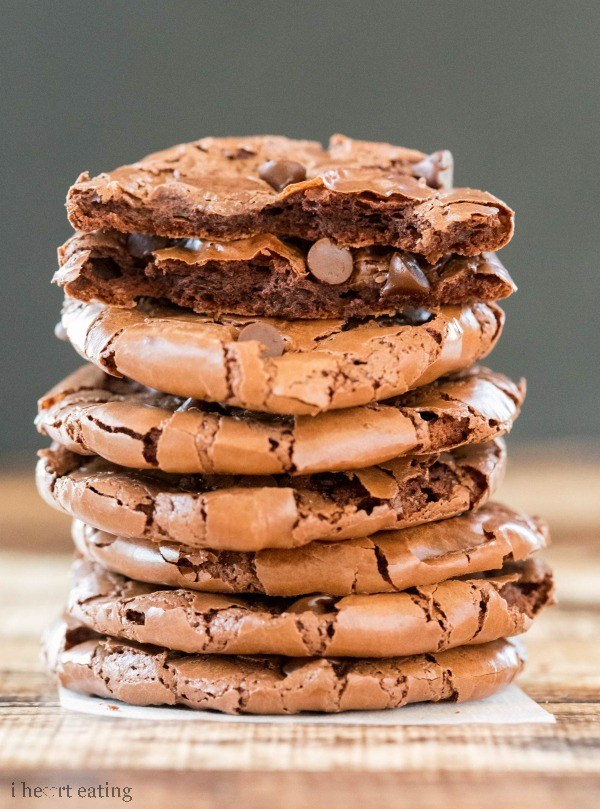 fudge cookies stacked high